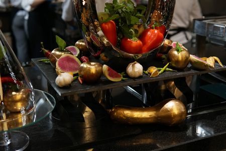 fresh vegetables in the kitchen of the restaurant with aromatic spices