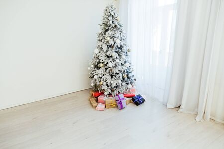White Christmas Tree New Year presents holiday