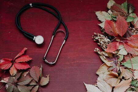 yellow red leaves autumn medicine disease Фото со стока