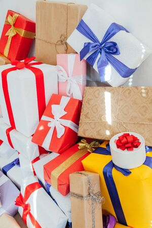Lots of multi-colored gifts for the holiday Stock Photo