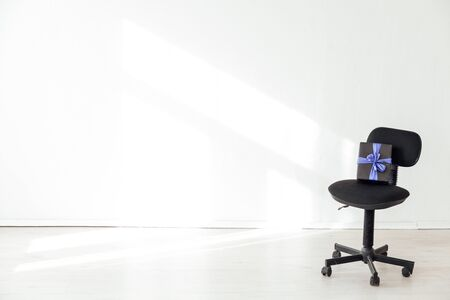 black office chair in the interior of the office without people