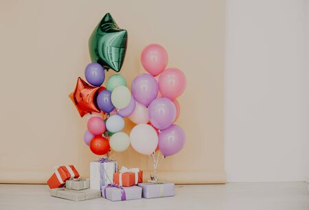 balloons and gifts for birthday celebration nice Stock Photo