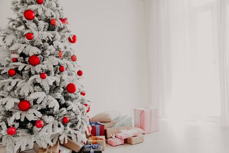 happy holidays Christmas new year tree presents