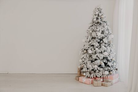 Christmas tree Garland lights new year holiday gifts white home