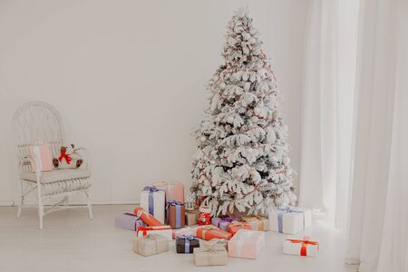 Christmas tree with presents, Garland lights new year winter