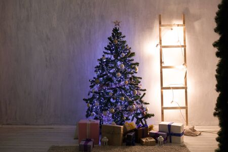 Christmas tree blue lights new year holiday gifts Garland white home