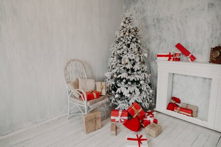 Interior of the room with the Christmas tree and Christmas gifts 1