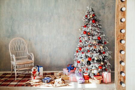 White Christmas tree bedroom Decorating Interior gifts new year holiday winter