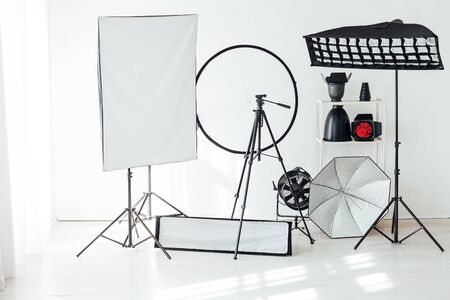 Photo studio equipment flash accessories photographer Banco de Imagens