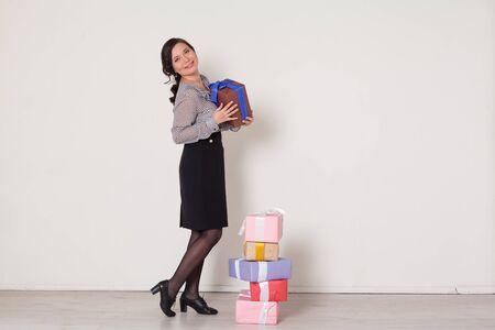 beautiful Asian woman with gifts for a birthday party 写真素材