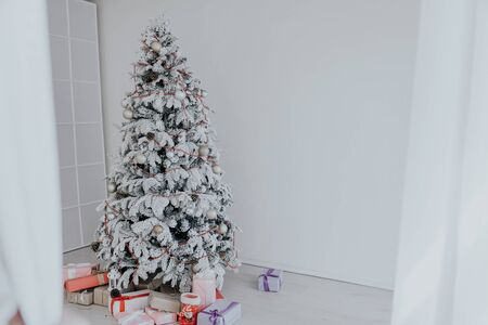 Christmas tree with presents new year white scenery 1