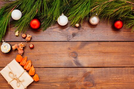 Christmas background Christmas tree Toys Gifts nuts fruits new year