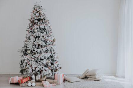 White Christmas tree decorating Interior winter holiday Stock fotó