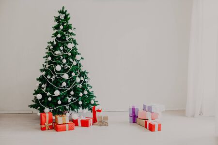 Christmas tree with presents for the new year Stock Photo