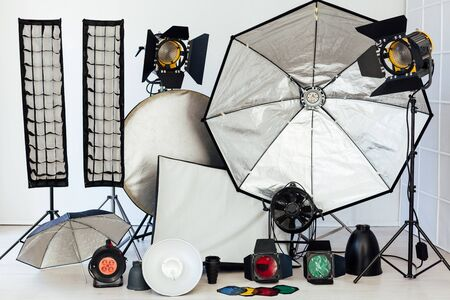Photo studio accessories equipment and flashes of a photographer 版權商用圖片