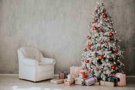 winter Christmas background bed bedroom tree holiday gifts new year 2020
