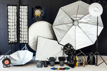 Photo studio flash equipment accessories of a professional photographer