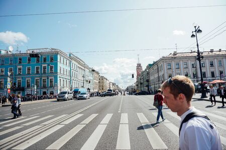 RUSSIA ST.PETERSBURG august 15.2019 Nevsky Avenue of the House of St. Petersburg