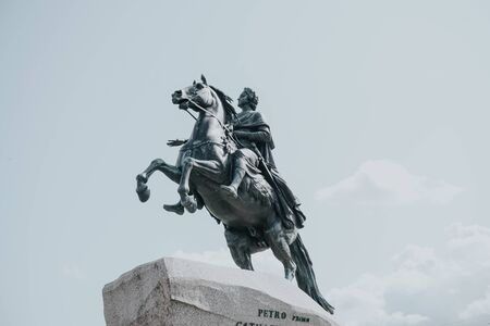 RUSSIA ST.PETERSBURG august 15.2019 monument copper rider Peter first