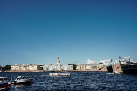 RUSSIA ST.PETERSBURG august 15.2019 River Neva St. Peterburg Palace Bridge