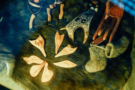 ancient runes of shamanic rite of witchcraft siberia Фото со стока