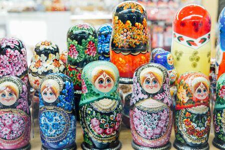 Russian national toy beautiful matryoshka multicolored women