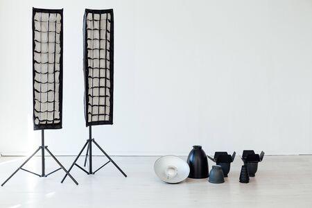 Photo studio equipment flash accessories photographer on a white background