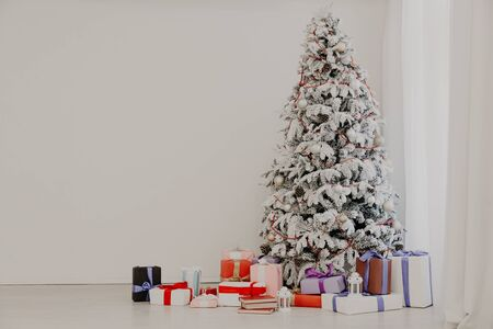 Christmas tree Garland lights new year holiday gifts white home decor
