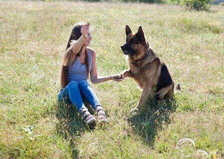 Woman trains trained sheepdog in field dog Archivio Fotografico - 132858349