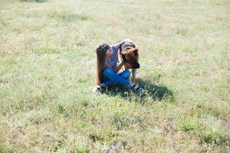 Woman trains trained sheepdog in field dog Archivio Fotografico - 132859117