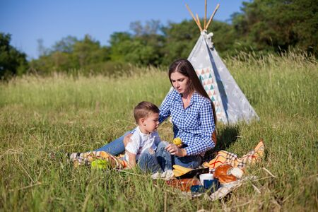 beautiful woman with her son on a picnic in a field near the forest Reklamní fotografie