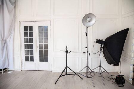 photo studio interior with flashes and racks 版權商用圖片