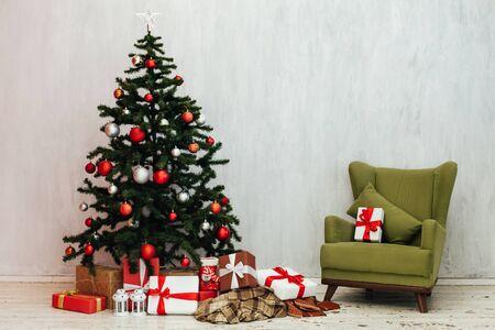 Christmas tree with gifts decor new year winter Фото со стока