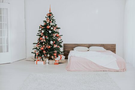 new year Christmas white room with Christmas tree 2018 2019 Stock Photo