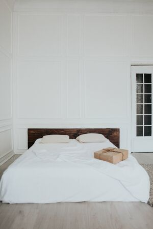 White bedroom bed morning linen vintage morning 写真素材