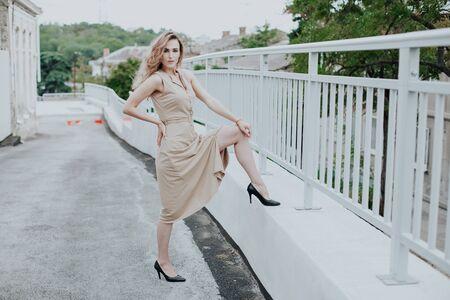 Portrait of a beautiful fashionable blonde woman in a beige dress Reklamní fotografie