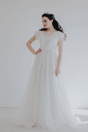 Princess with a Crown in white dress the bride 版權商用圖片 - 134011770