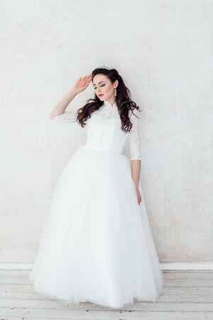 Princess Bride in white wedding dress at the wedding 版權商用圖片
