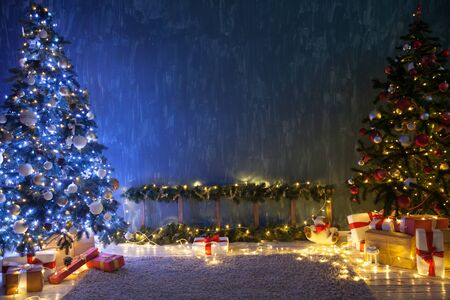 Christmas tree garland lights with New Years eve decoration