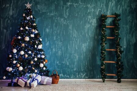 Christmas tree with gifts in the interior of santa's house decor for the new year