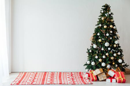 Christmas decor house Christmas tree with gifts for the new year holiday postcard as a background