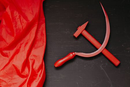 red sickle and hammer workers and peasants commensis revolution
