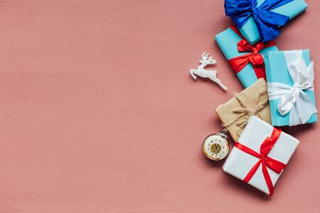 Christmas decoration new year presents holiday pink background 스톡 콘텐츠