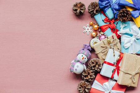 Christmas decoration Christmas tree new year presents holiday pink background