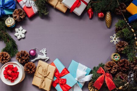 gifts Christmas tree new year holiday decor purple background