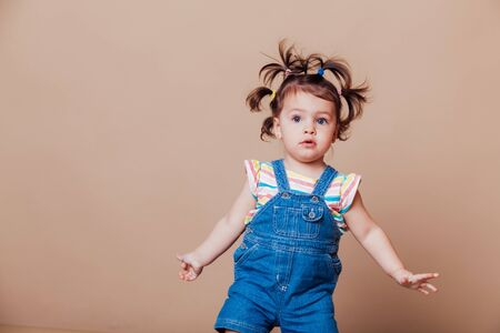 funny girl with pigtails in summer kids
