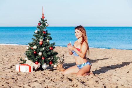 girl in the tropics at the resort for Christmas and new year Stock fotó