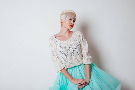 beautiful French blonde in a light dress Stock fotó