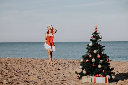 new year Christmas tree Beach Resort Sea girl