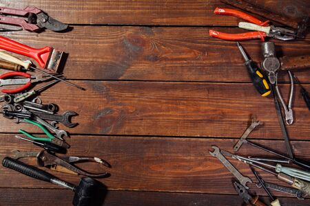 hammers screwdriver repair tool pliers on the boards 스톡 콘텐츠